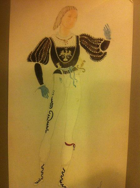 Croquis original du costume de Roméo tiré du livre de OLIVER MESSEL. 1936