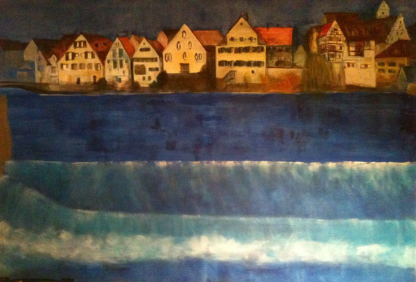 Riedlingen Blue Danube, Acrylic on canvas 150x200 cm