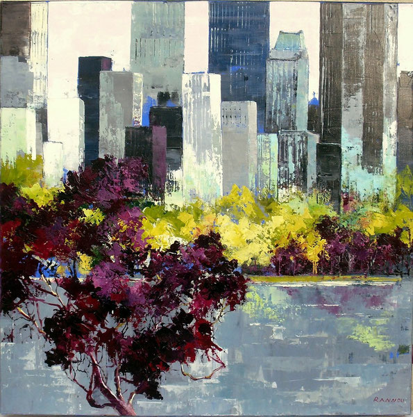 11 - Printemps à Central Park  100 x 100 cm hst