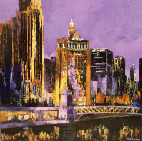 7 - Reflet du Soir à Chicago 80 x 80 cm hst