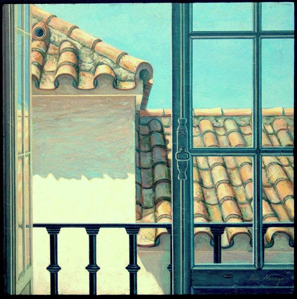 Balcón del estudio. 1996.Acrilico sobre madera. 51x51cm