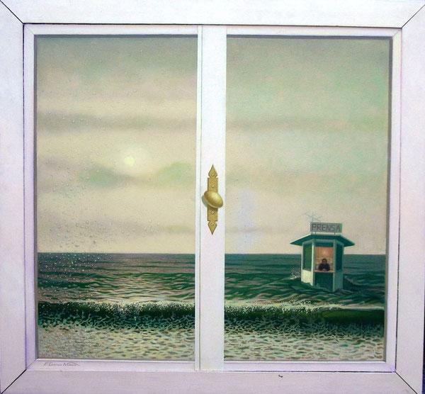 El Quiosquero y el mar.1986. Acril sobre madera. 120x100cm