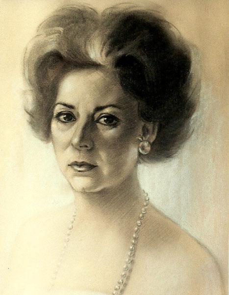 Caridad, mi madre. 1971. Dibujo a carbón. 40x50cm
