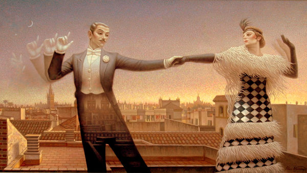 Baile al atardecer de Sevilla. 1996. Acrilico sobre lienzo. 140x100cm