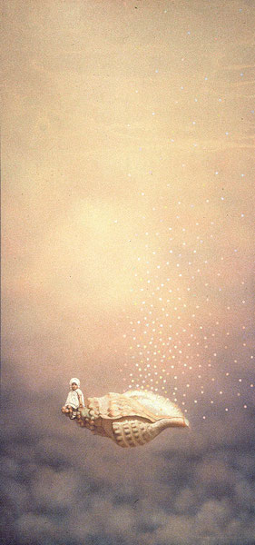 Mi madre por las nubes. 1991. Acrilico sobre madera. 130x60cm