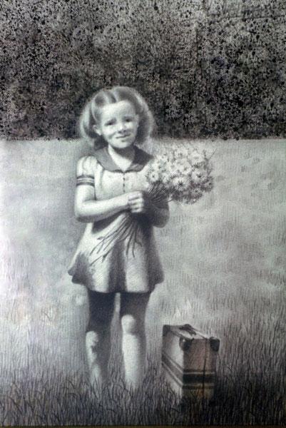 Ursula en el jardin. 1996. Dibujo a grafito. 25x15cm