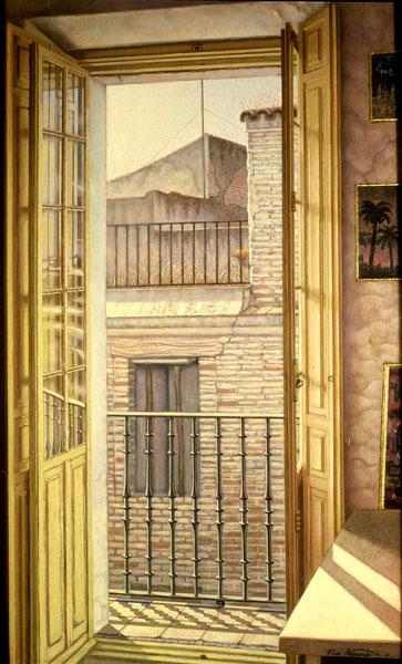 Balcón del estudio. 1992.  Acrilico sobre madera. 80x50cm
