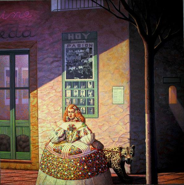 Menina con leopardo. Album de Jose Maria Maldonado. Mixta sobre madera. 100x100cm