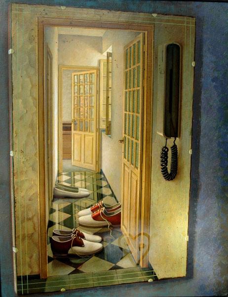 Pasillo reflejado del estudio. 1994. Oleo sobre lienzo. 100x78cm