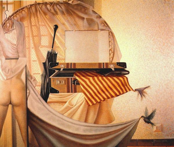 Interior del estudio.1987. Oleo sobre madera. 146x120cm