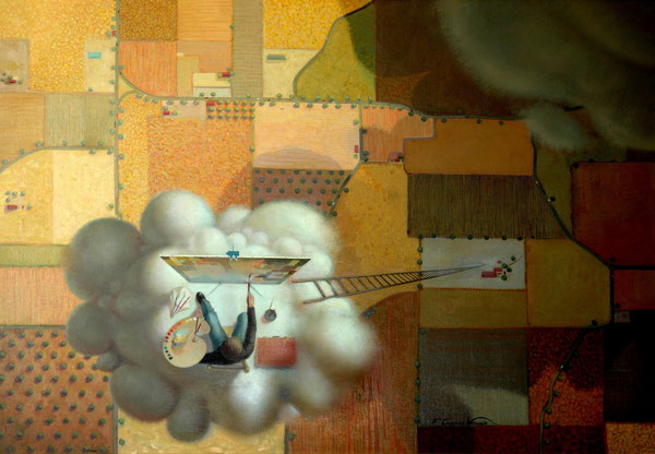 El pintor en la nube de espuma. 1991. Acrilico sobre madera. 120x100cm