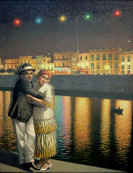 El tango en la velá. 1988. Oleo sobre lienzo. 146x120cm