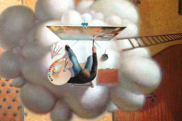 Fragmento del pintor de la nube de espuma