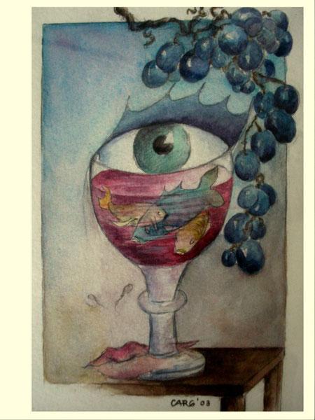 Weinvision                27 x33 cm.      inkl. Rahmen         980.- Euro          Aquarell