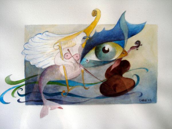 Harfenspiel               36 x45 cm.         inkl. Rahmen       980.- Euro         Aquarell