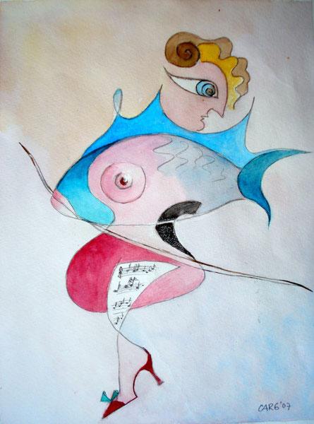 Fischauge            32 x42  cm   inkl. Rahmen           980.- Euro                  Aquarell