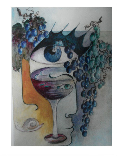 Bacchuse                  32 x42 cm.         inkl. Rahmen       980.- Euro         Aquarell