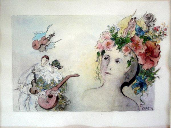Melodie für Blumenmädchen    47 x55 cm. inkl.Rahmen    1600.- Euro      Aquarell