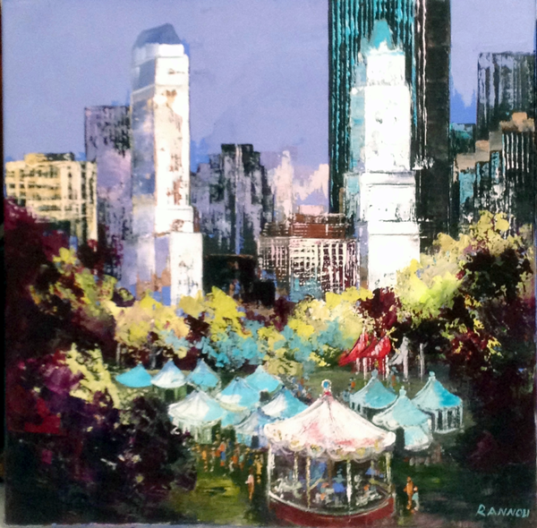 5 - Fête foraine à Central Park 70 x 70 cm hst