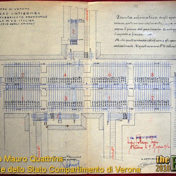 Nell'immagine qui sotto e' possibile vedere, disegnate con le righe blu, la disposizione delle rotaie ferroviarie utilizzate per rinforzare la struttura! Questo stesso sistema di rinforzo l'abbiamo visto utilizzato anche in altri rifugi, come quelli sotto