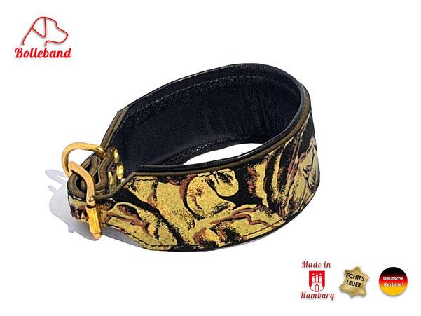 Windhundhalsband mit bedrucktem Obermaterial Goldblumen Neuoprenpolster und schwarzem Futterleder Handarbeit von Bolleband