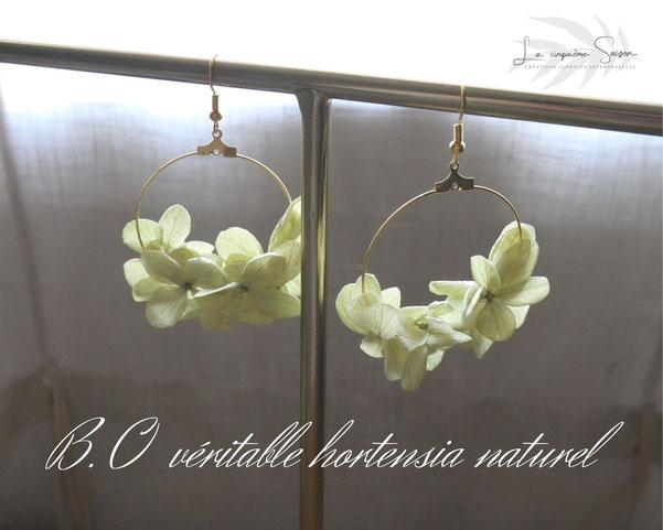 Boucles d'oreilles créoles en fleurs d'hortensia vert tendre stabilisé, une création de la cinquième saison, artisan créatrice spécialisée.