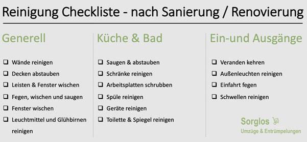 Checkliste für die Reinigung