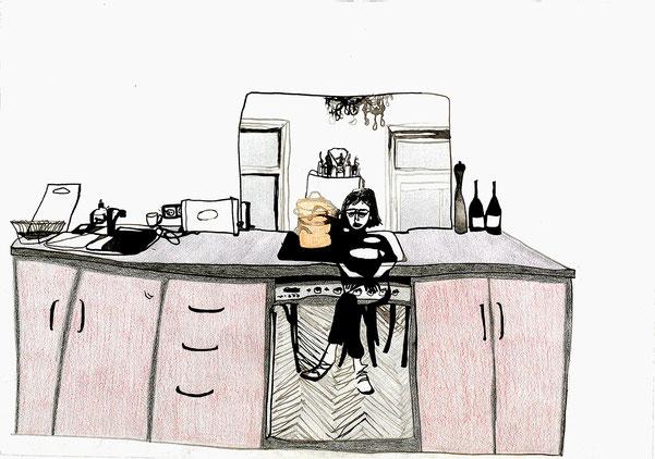 Nina Gross Kunst Zeichnung selbst in der küche