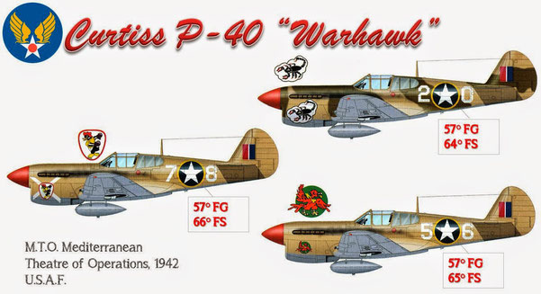 Warhawk schierati nel M.T.O. la sigla per designare il teatro del Mediterraneo.