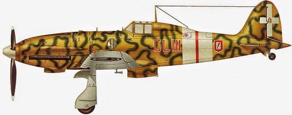Macchi M.C. 202 del 153° (CLIII) gruppo caccia terrestre. Questo esemplare era pilotato dal Mag. Andrea Favini, Sicilia 1942.