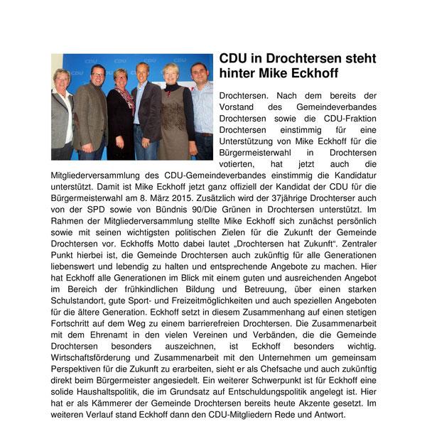 Artikel auf www.cdu-drochtersen.de vom 28. Oktober 2014