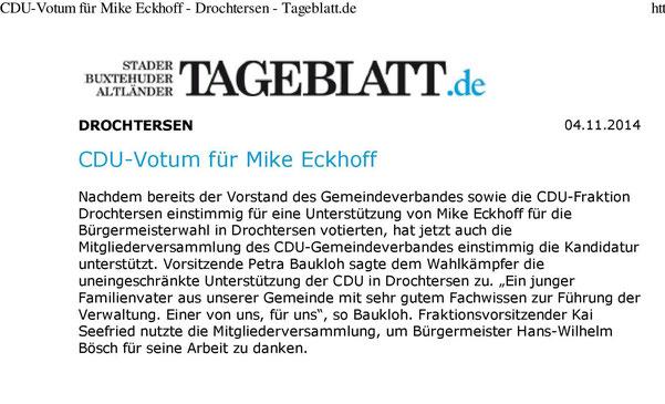Stader Tageblatt vom 04. November 2014