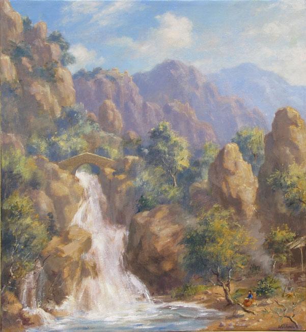 Tony Wahlander (Wåhlander) Le philosophe et la cascade