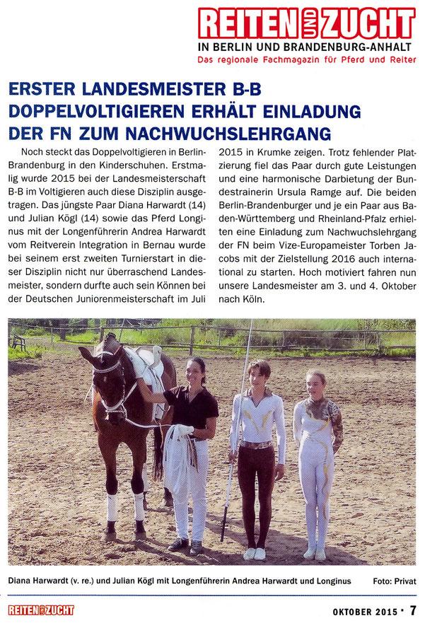 Duo-Paar des RVI erhält Einladung zum FN Nachwuchslehrgang, erschienen in der Oktober 2015 Ausgabe der Reiten und Zucht in Berlin und Brandenburg
