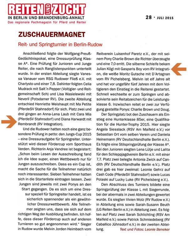 Erste Plätze in der Dressur für den RVI beim rei- und Springturnier in Berlin-Rudow, erschienen in der Juli 2015 Ausgabe der Reiten und Zucht in Berlin und Brandenburg