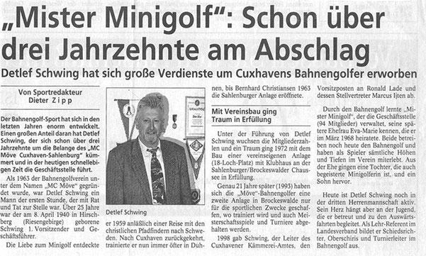 Artikel aus den Cuxhavener Nachrichten vom 12.06.1999