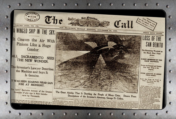Historisches Dokument über UFO Sichtungen an der Amerikanischen Westküste 1896. War es Newtons Luftschiff?