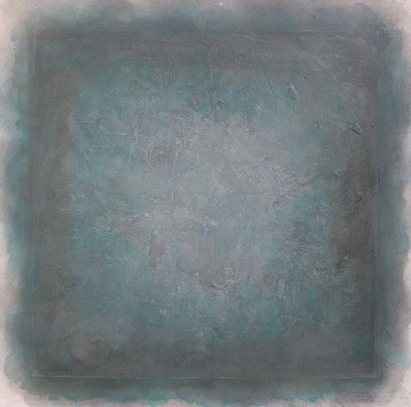 abstraktes Bild · Blau · Quadrat · Spiegelungen ·  Schellack · Patrick Öxler · Wiede Fabrik · Atelier