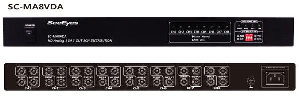 アナログHD(AHD/TVI/CVI) 3分配 x 8CH 分配器 ‐ 写真