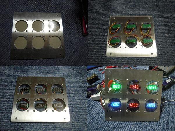 ダッシュボードの穴埋め兼ねて6連デジタル電圧計製作。廃材と端材とラジコンパーツで
