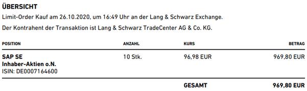 freaky finance, Trade Republic, Ausführung Kauf SAP