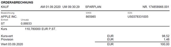 freaky finance, Consorsbank Aktiensparplan, Apple