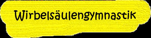 VfL Altenhagen schwarzes Wort Wirbelsäulengymnastik auf gelbem Grund