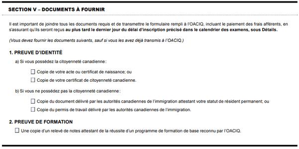 Documents à fournir pour l'examen à l'OACIQ