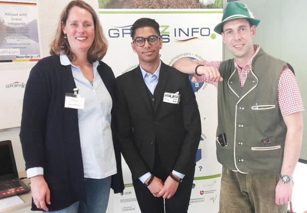v.l.n.r.: Jeannine Boomker (adviseur GIP EDR), Mike Ponit (student IBS) en Jaap de Boer (docent Duits ROC Noorderpoort) kijken terug op een geslaagd evenement.