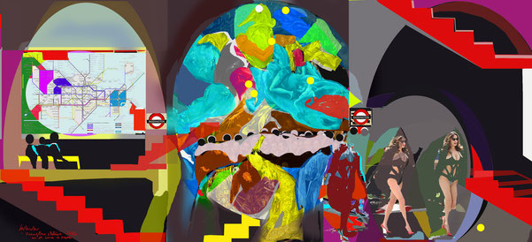 London Underground with appearance of Count Orgaz. digital collage image 2012