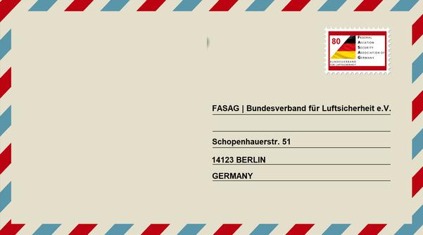BILD: Brief mit postalischer Anschrift der Federal Aviation Security Association of Germany - Bundesverband für Luftsicherheit e.V., Schopenhauerstraße 51, in  14129 Berlin, Germany