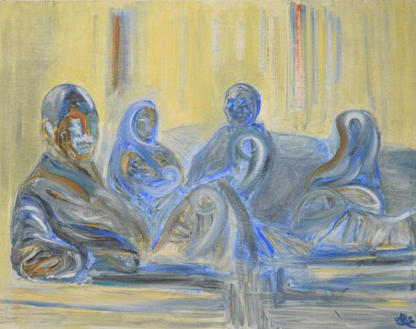 """(Ancient) Egyptian Parents"" - 2015, 90 cm by 70 cm, Oil on Canvas."