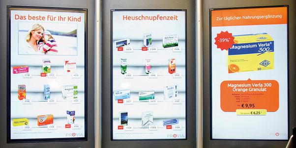 Virtuelle Sichtwahl, Digital Signage hält Einzug in die Apotheke