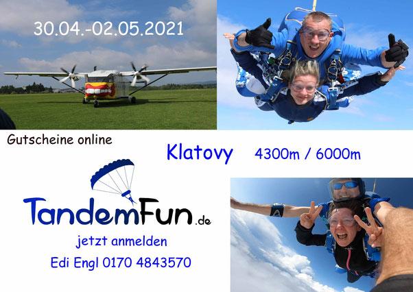 Fallschirmspringen Klatovy Tschechien mit Tandemfun - Termin April-Mai 2021